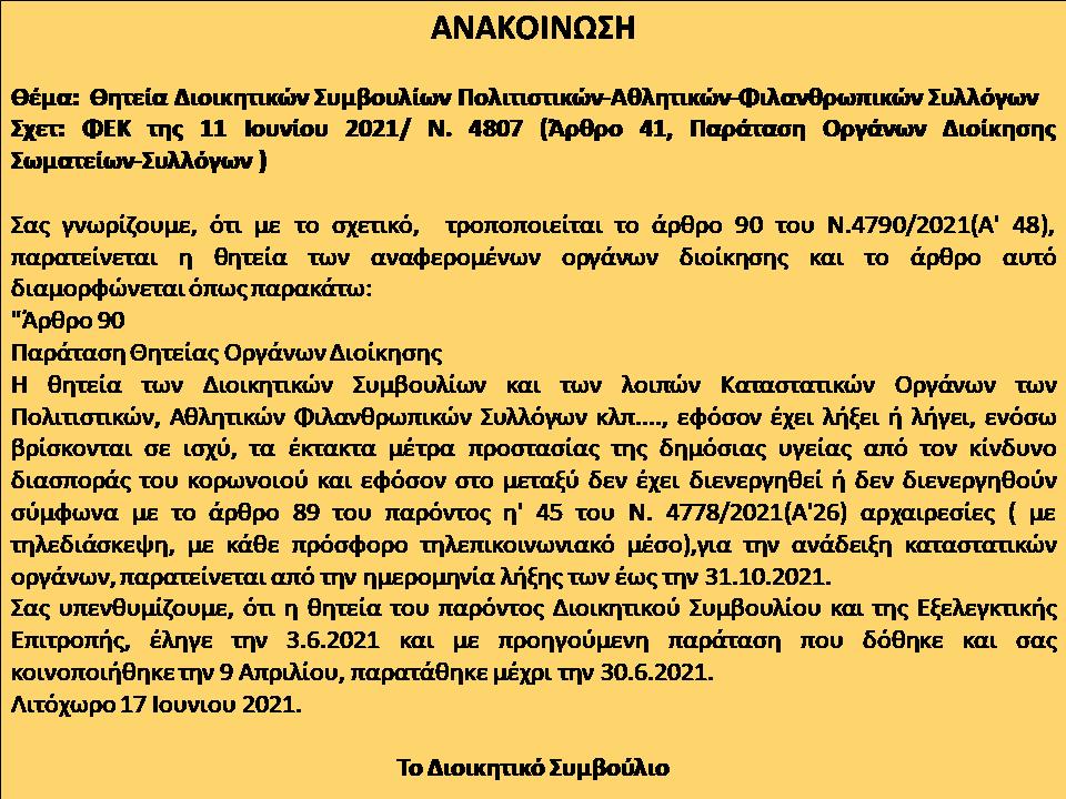 Ανακοίνωση-Παράταση θητείας Δ.Σ.